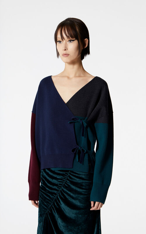 NAVY BLUE Reversible cashmere cross-front jumper for women KENZO