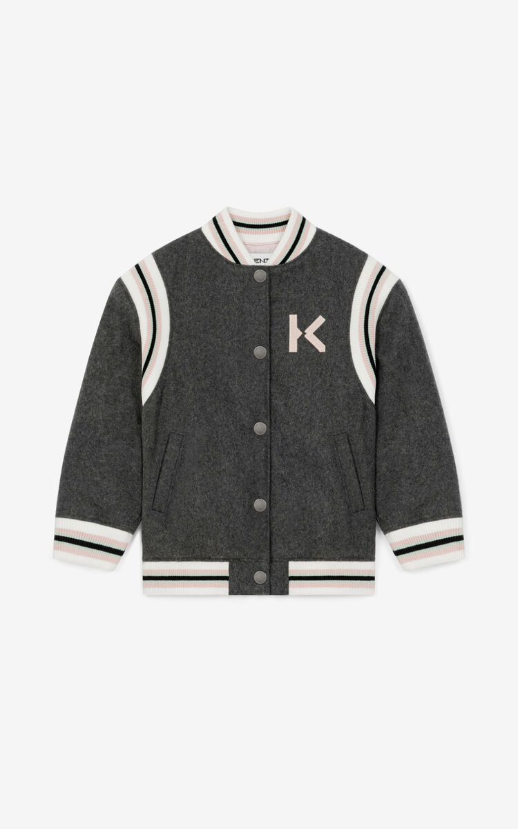 ANTHRACITE 'Jumping Tiger' Teddy Jacket for unisex KENZO