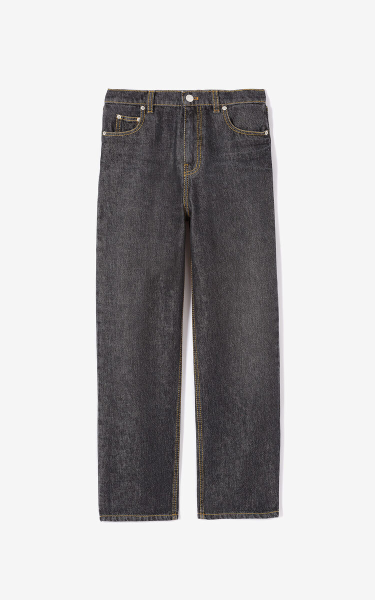 BLACK 'Passion Flower' boyfriend jeans for women KENZO