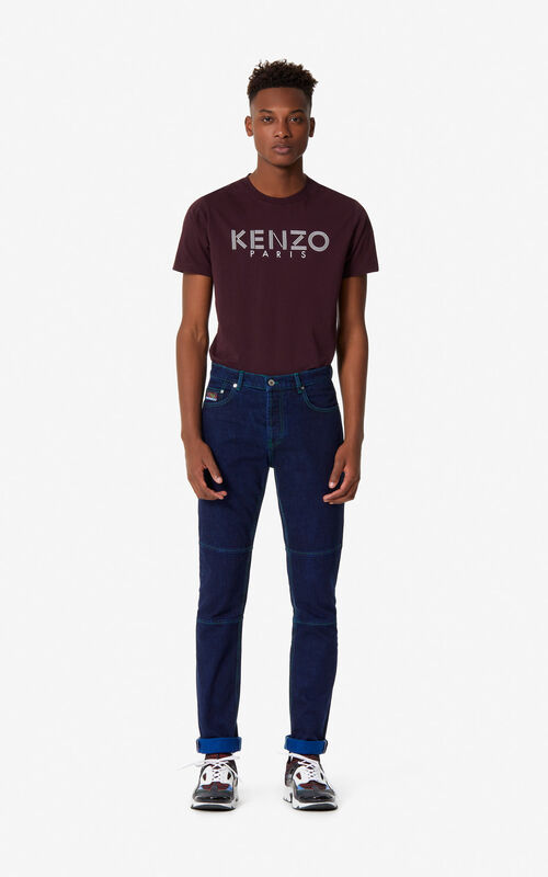 NAVY BLUE 'Bamboo Tiger' cuffed biker jeans for men KENZO