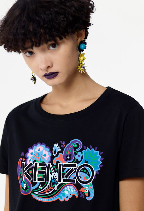 BLACK KENZO Paris paisley print t-shirt for women