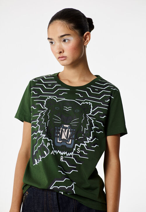 DARK KHAKI Geo Tiger t-shirt  for women KENZO