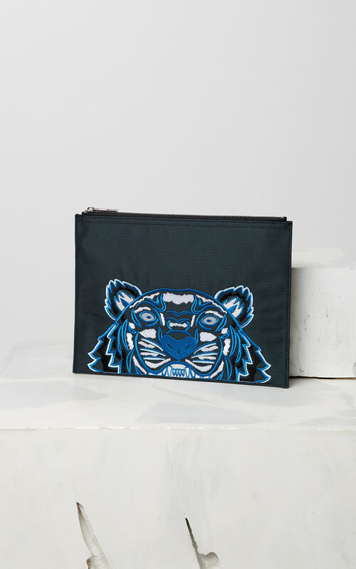DARK GREY A4 Tiger Canvas clutch for men KENZO