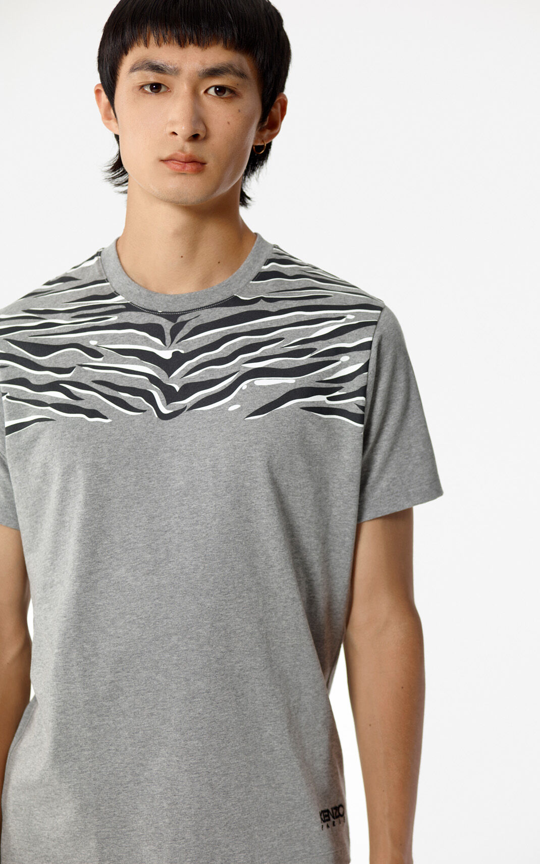 DOVE GREY 'Claw Tiger' T-shirt for men KENZO