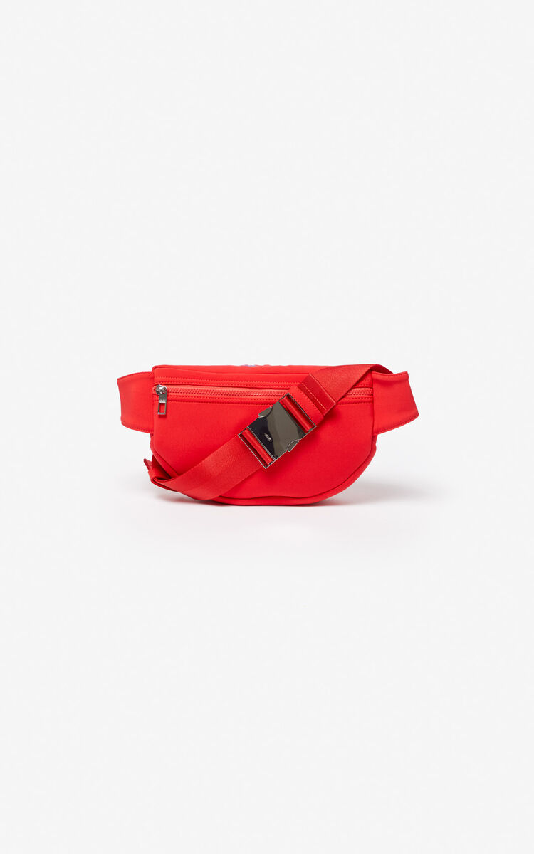 MEDIUM RED Neoprene Tiger bumbag for men KENZO