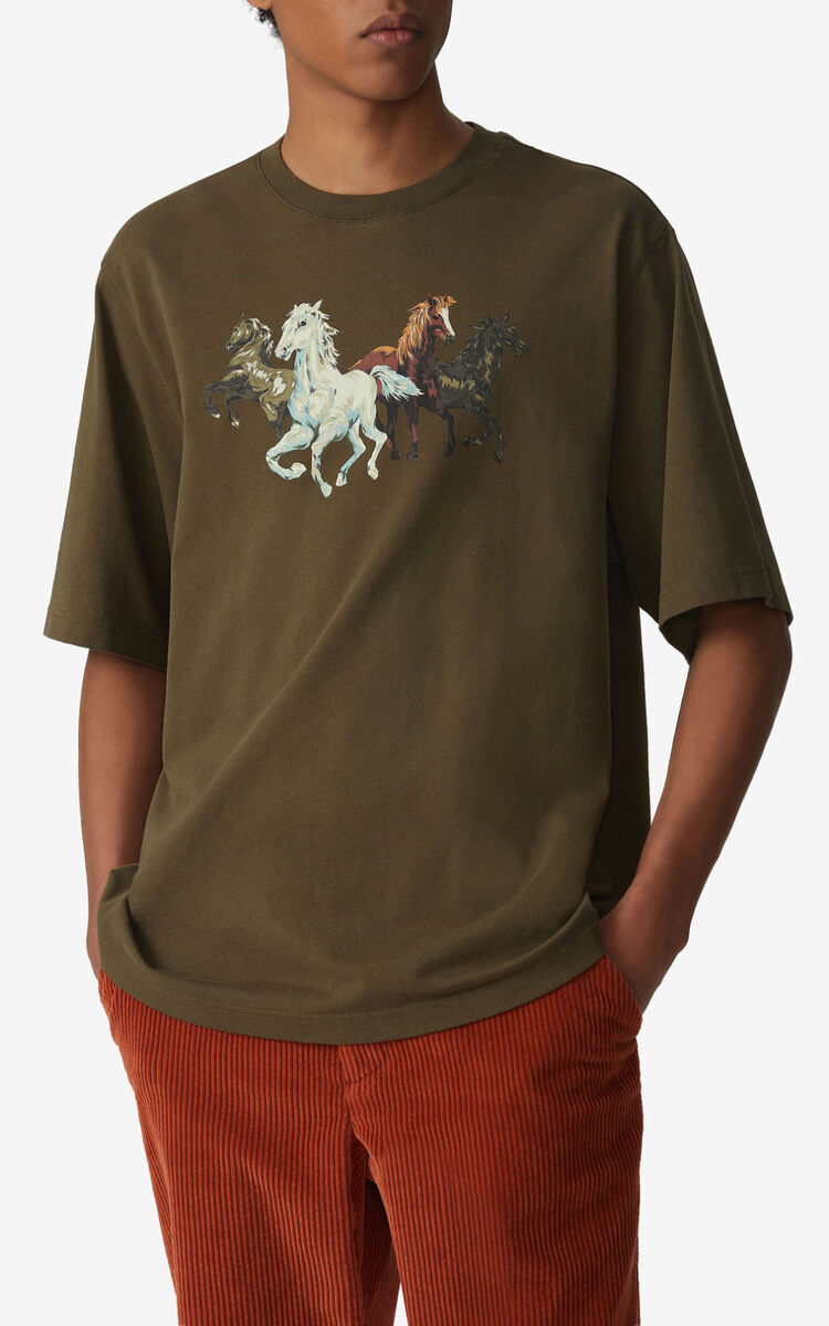 KHAKI 'Chevaux KENZO' T-shirt for women