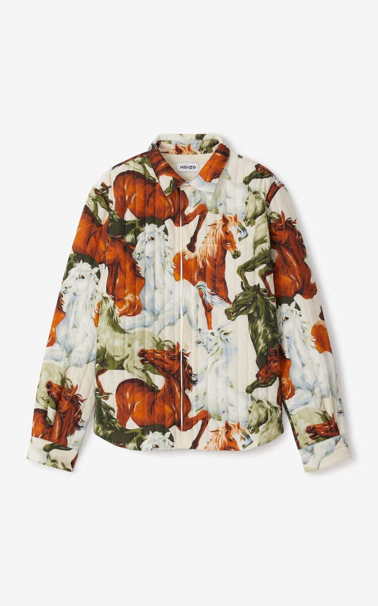 WHITE 'Chevaux KENZO' quilted shirt for women