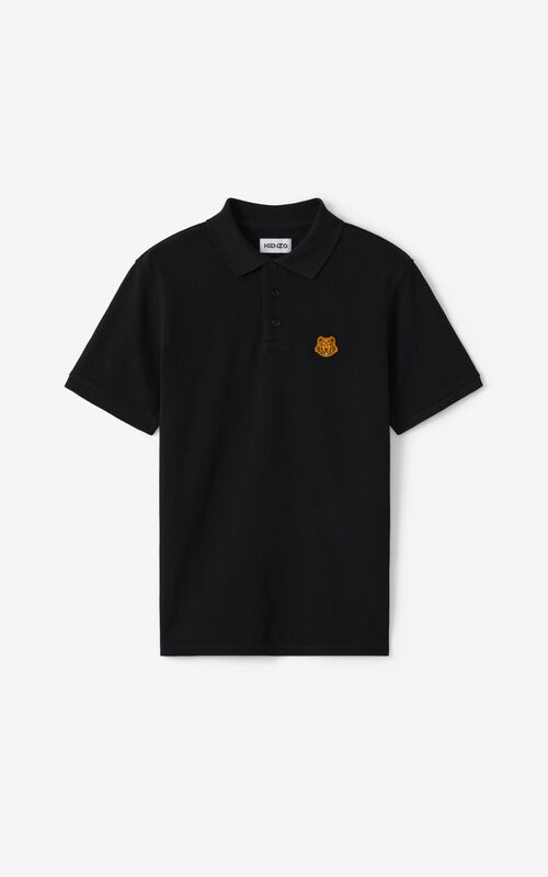 BLACK Tiger Crest polo for unisex KENZO