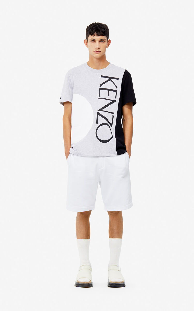 WHITE Dual-fabric shorts for men KENZO