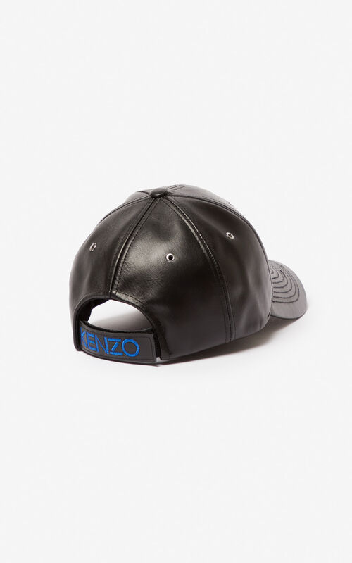 BLACK Tiger leather cap for unisex KENZO