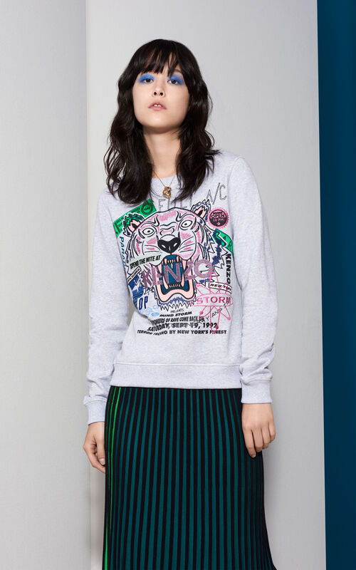 PALE GREY Flyer x Tiger Sweatshirt for women KENZO
