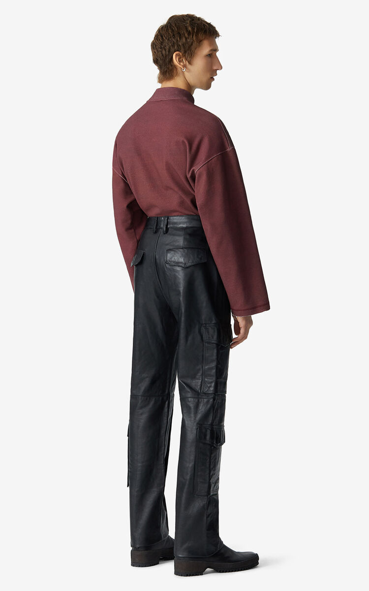 BLACK Leather cargo trousers for men KENZO