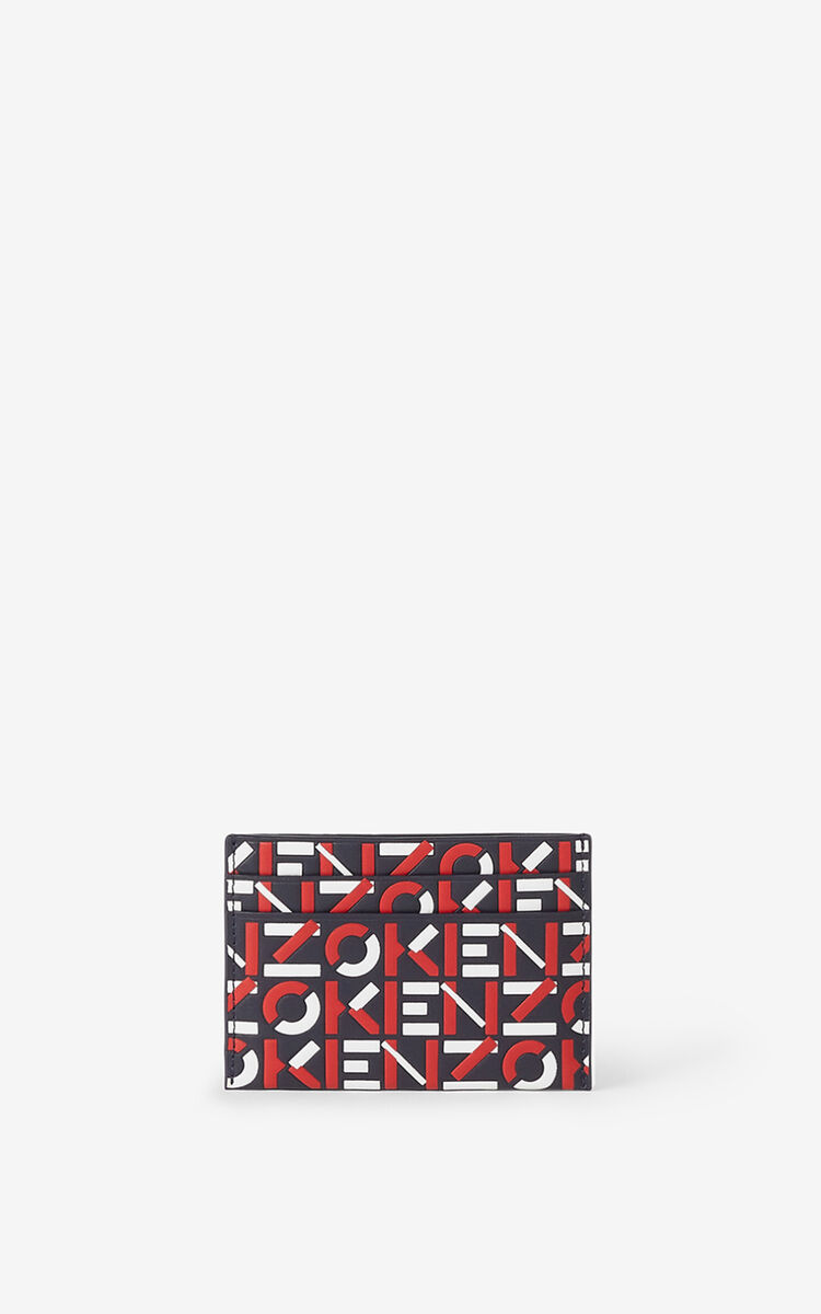 MEDIUM RED Monogram leather card holder for unisex KENZO