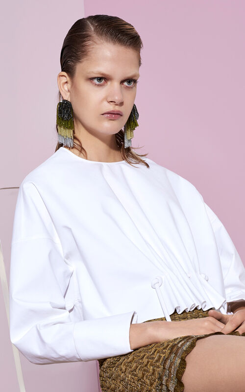 Cinched cotton blouse, WHITE, KENZO