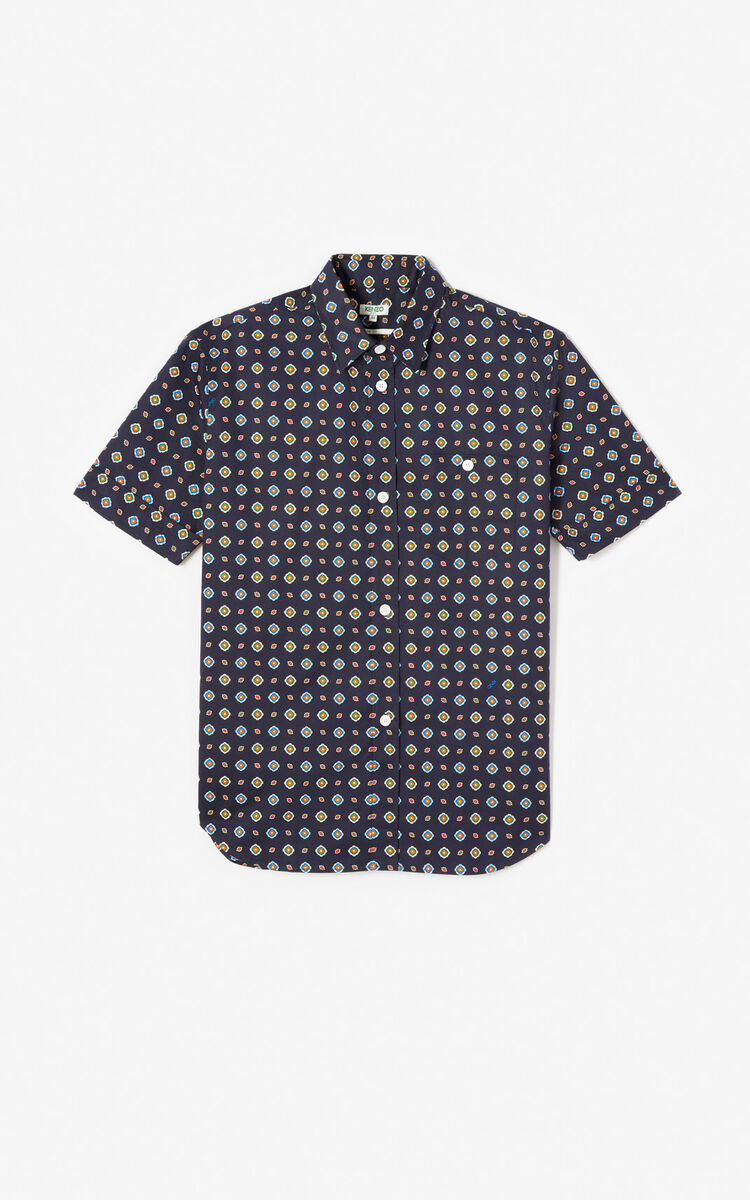 MIDNIGHT BLUE 'Médaillons' casual shirt for men KENZO