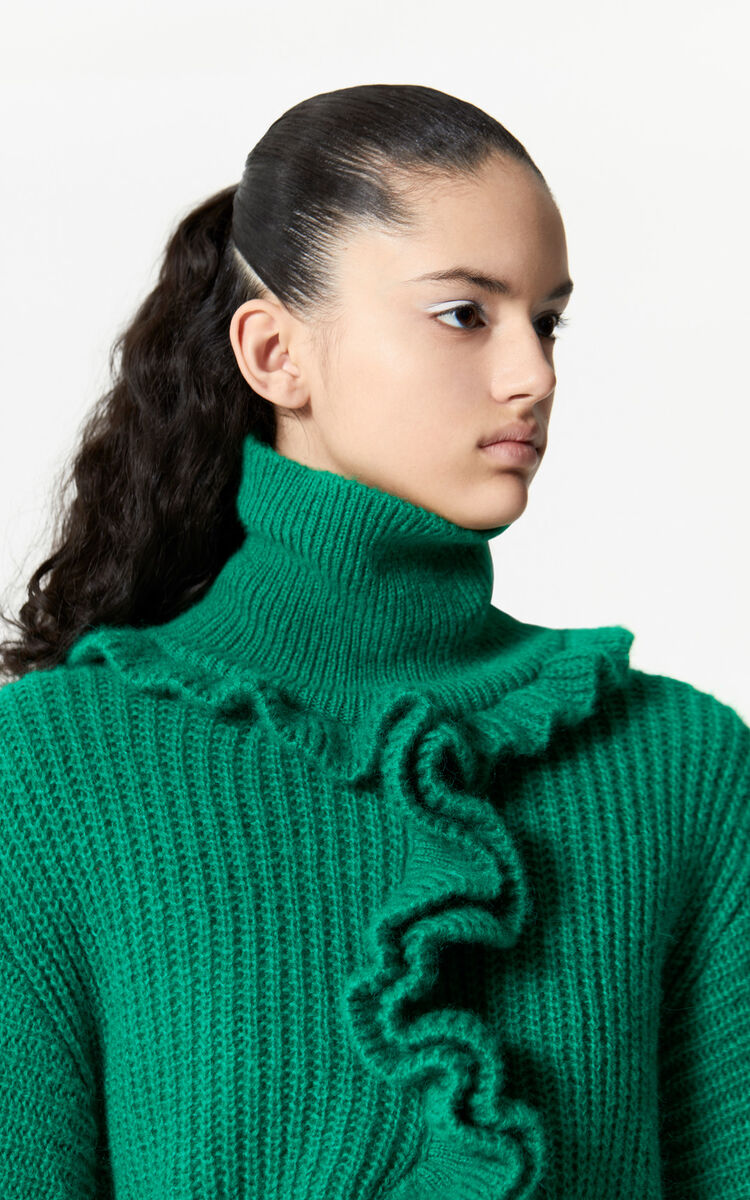 GRASS GREEN Ruffled turtleneck jumper for women KENZO