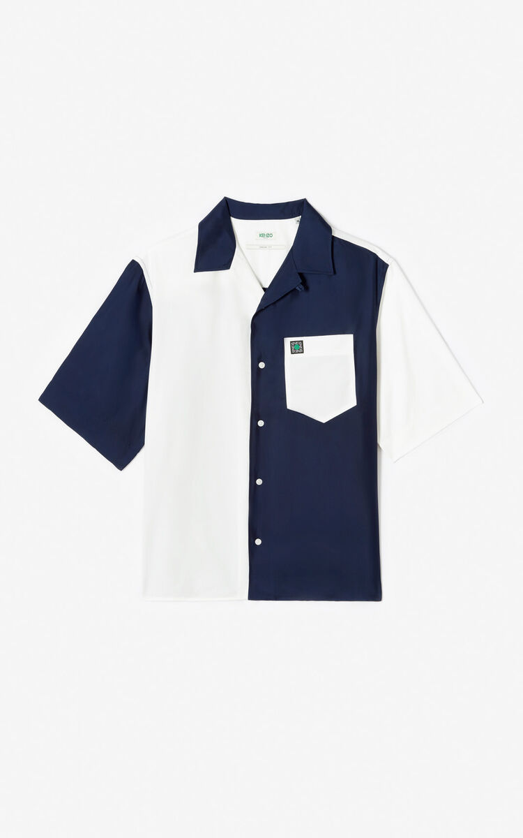 MIDNIGHT BLUE Satin two-tone loose-fitting shirt for men KENZO