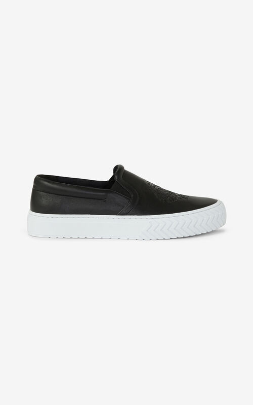 BLACK Leather K-Skate Tiger trainers without laces for unisex KENZO