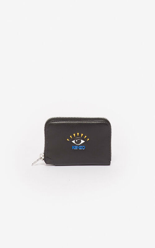 BLACK Eye coin purse with zip for unisex KENZO
