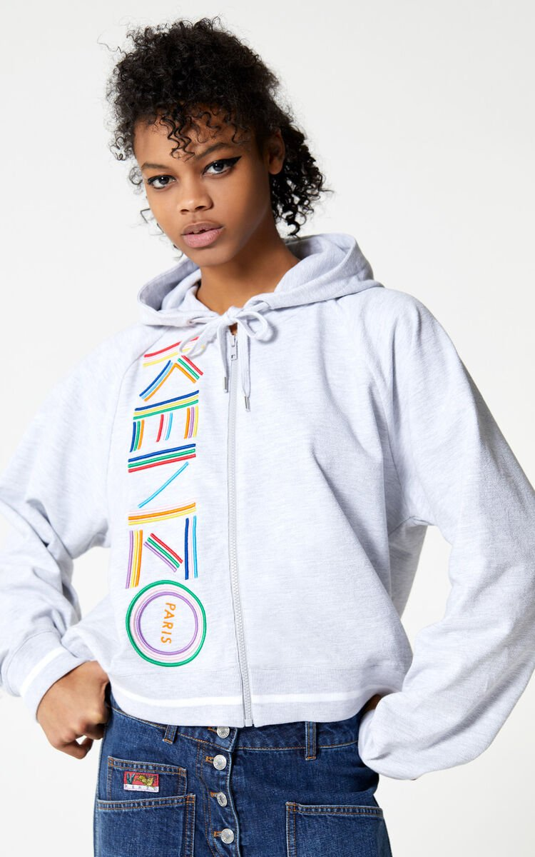 PALE GREY 'High Summer Capsule Collection' KENZO Logo zipped sweatshirt for women