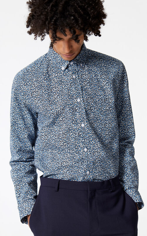 LIGHT BLUE 'Leopard' shirt for men KENZO