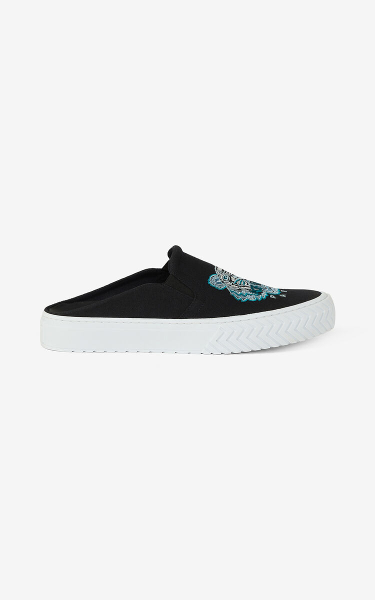 BLACK Canvas K-Skate Tiger mule sneakers for unisex KENZO