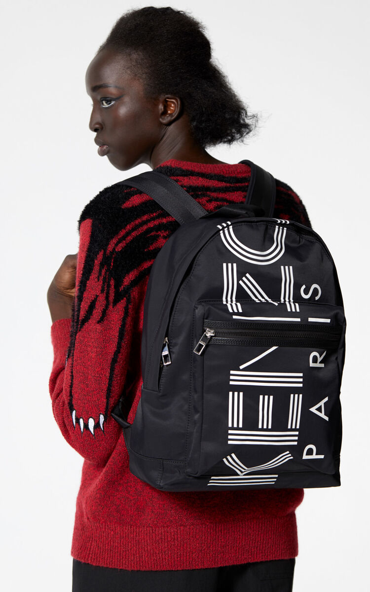 BLACK Large KENZO Logo backpack for men