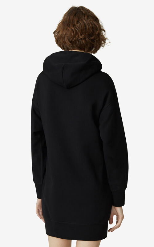 BLACK Tiger Flock sweatshirt dress for women KENZO