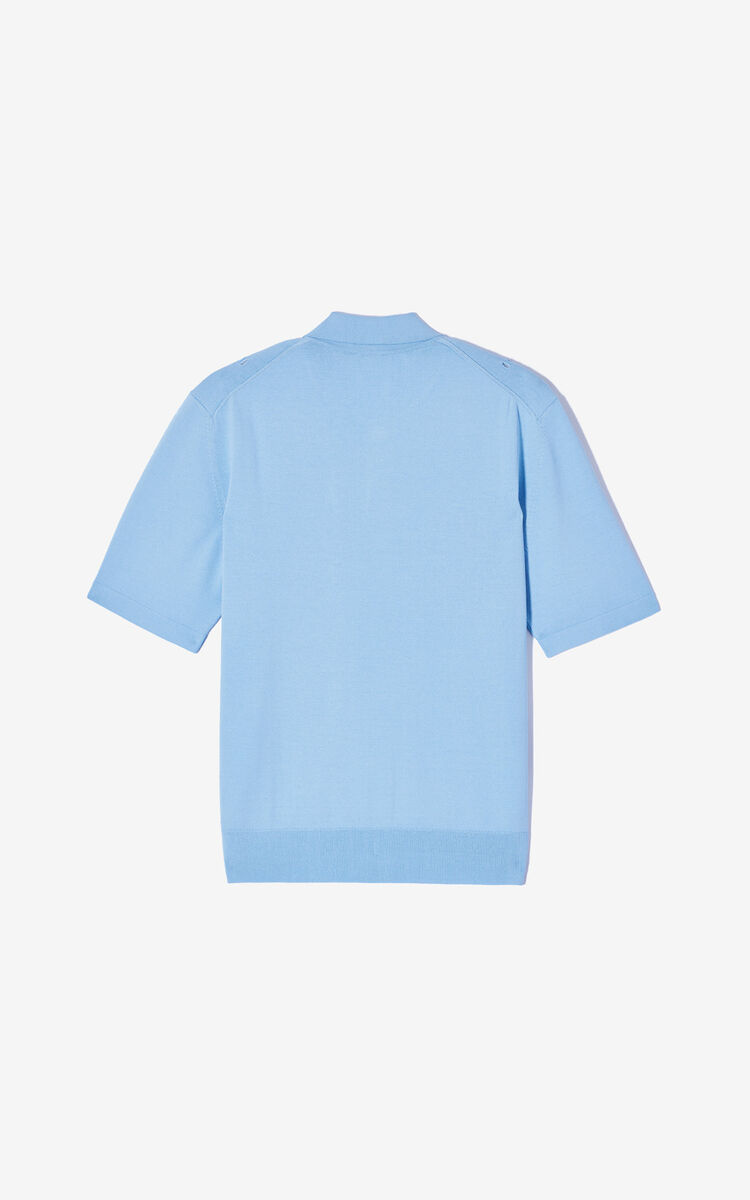 SKY BLUE Openwork knit polo shirt for men KENZO