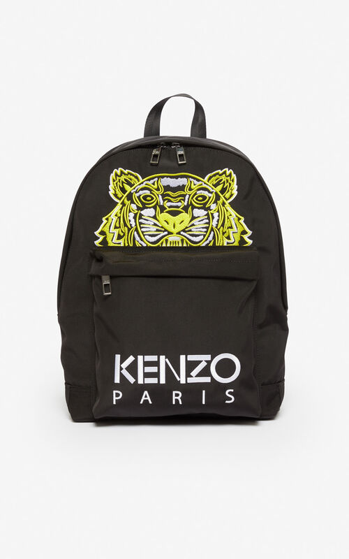 BLACK Large Tiger backpack for unisex KENZO