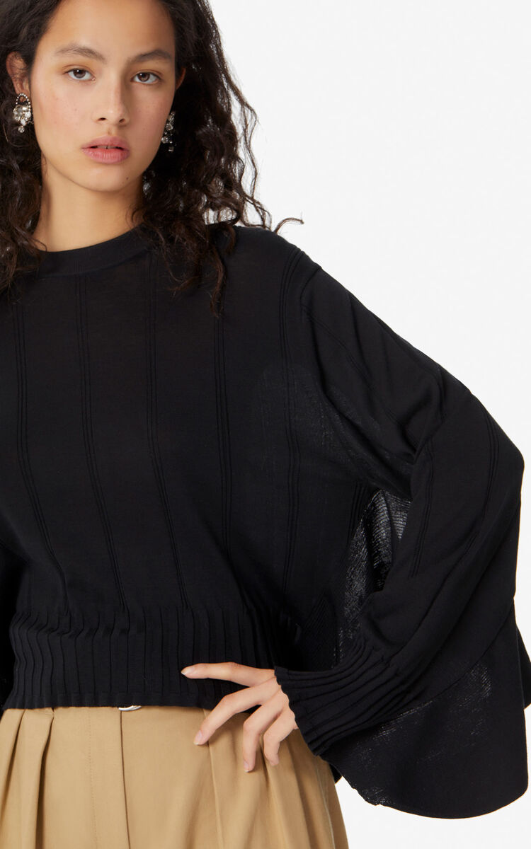 BLACK Ruffled jumper for women KENZO