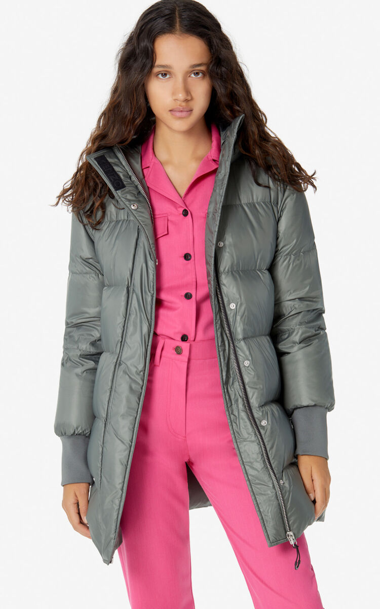 TAUPE KHAKI Long quilted puffer jacket for women KENZO