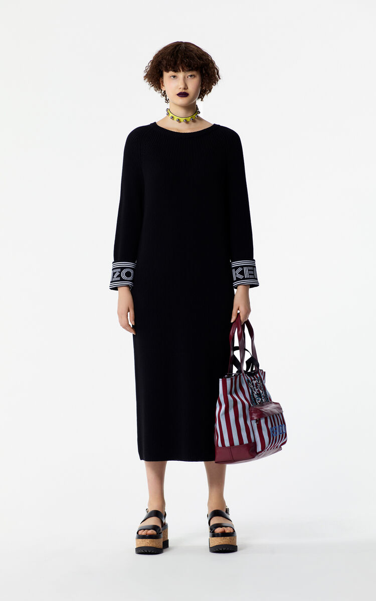 BLACK Knit straight dress for women KENZO