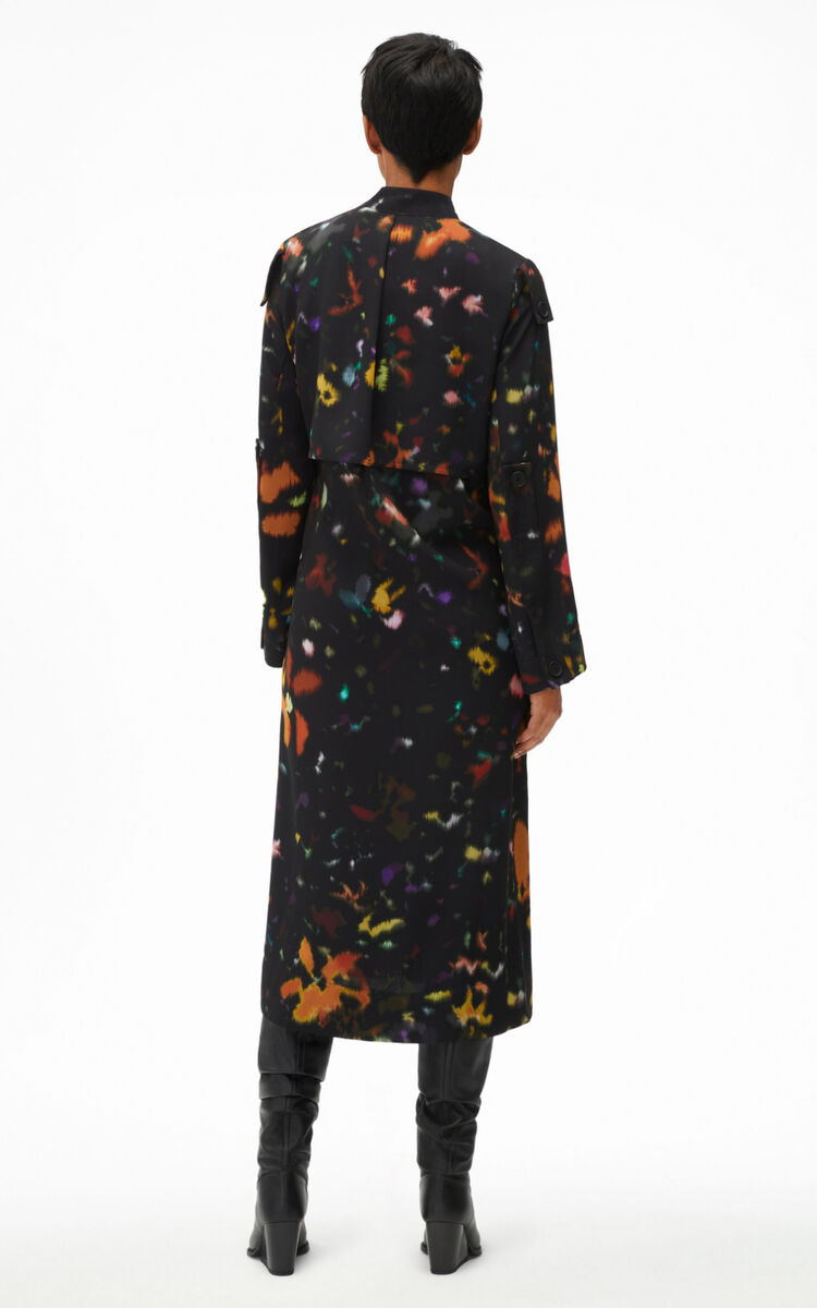 BLACK 'Abstract Floral' tie dress for women KENZO