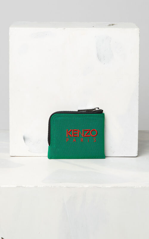 GRASS GREEN Zipped Tiger Purse for unisex KENZO