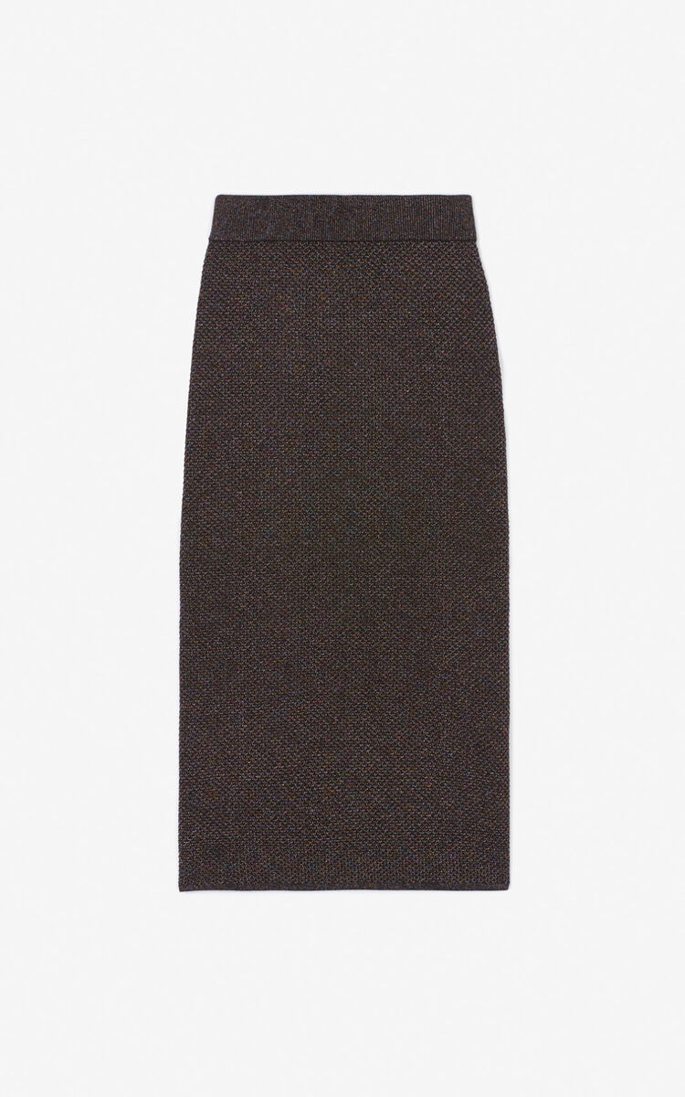 BLACK Glitter midi skirt for women KENZO