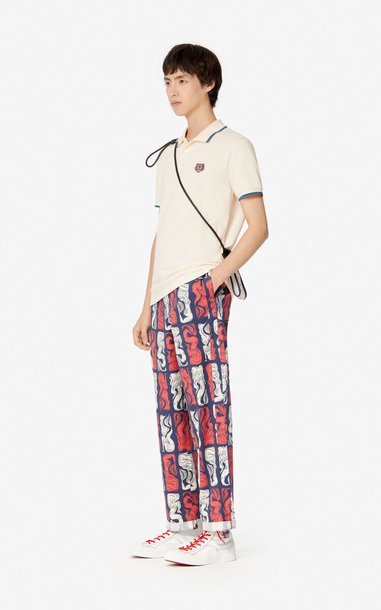 ECRU Fitted Tiger polo shirt  for men KENZO
