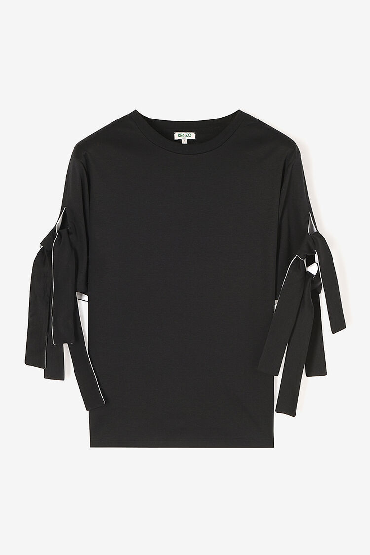 BLACK Knotted sleeves t-shirt for women KENZO