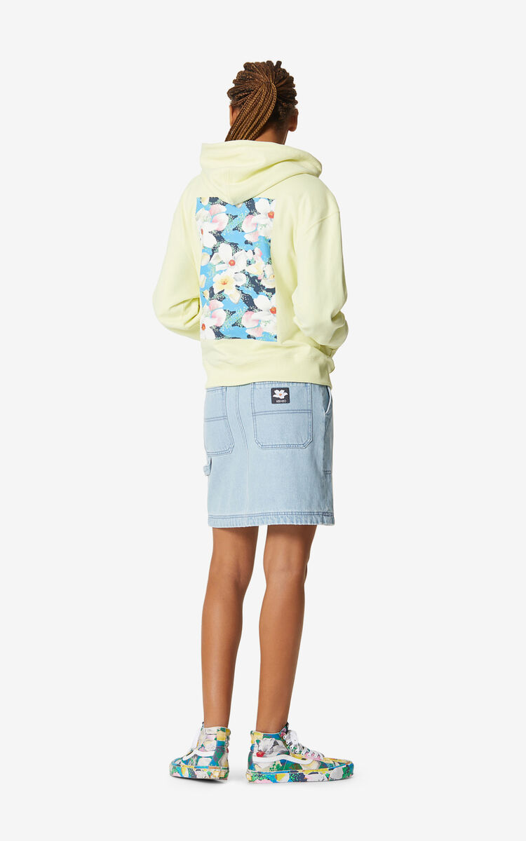 SKY BLUE Faded denim mini skirt for women KENZO