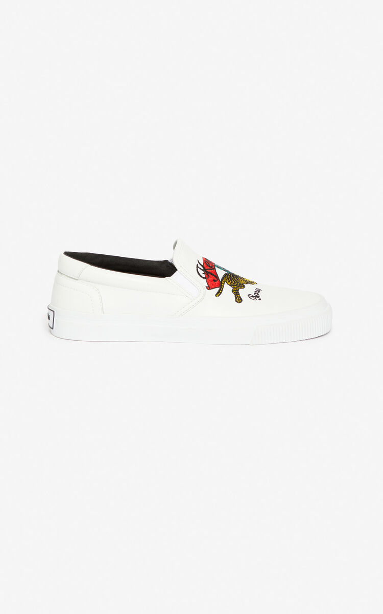 WHITE K-Skate 'Jumping Tiger' slip on shoes for women KENZO
