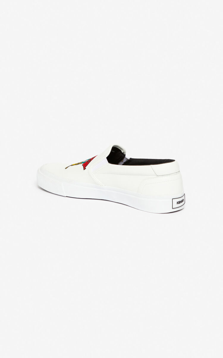 WHITE K-Skate 'Jumping Tiger' slip-on for women KENZO