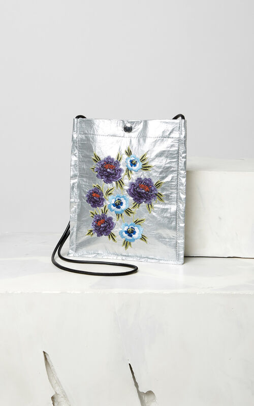 SILVER Cross-body 'Cheongsam Flower' bag for unisex KENZO