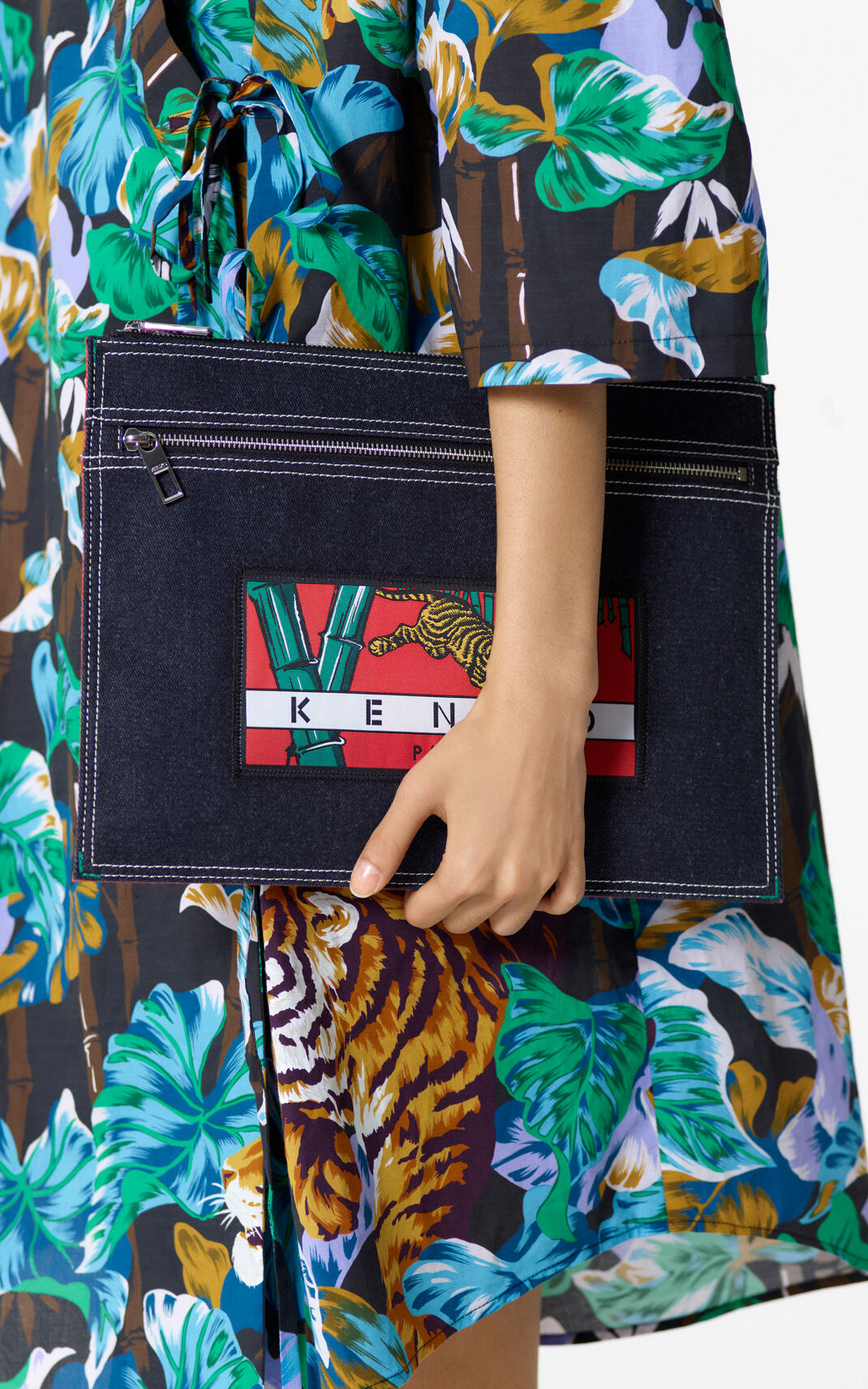 NAVY BLUE Denim 'Bamboo Tiger' clutch for women KENZO