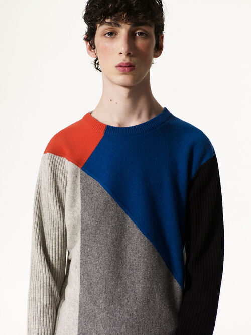 NAVY BLUE Colorblock jumper for women KENZO