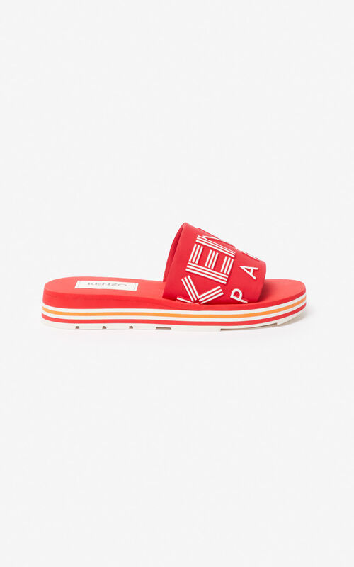 MEDIUM RED Papaya mules for unisex KENZO