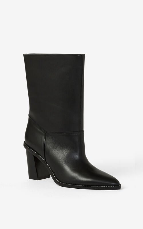 BLACK K-Line heeled leather ankle boots for unisex KENZO