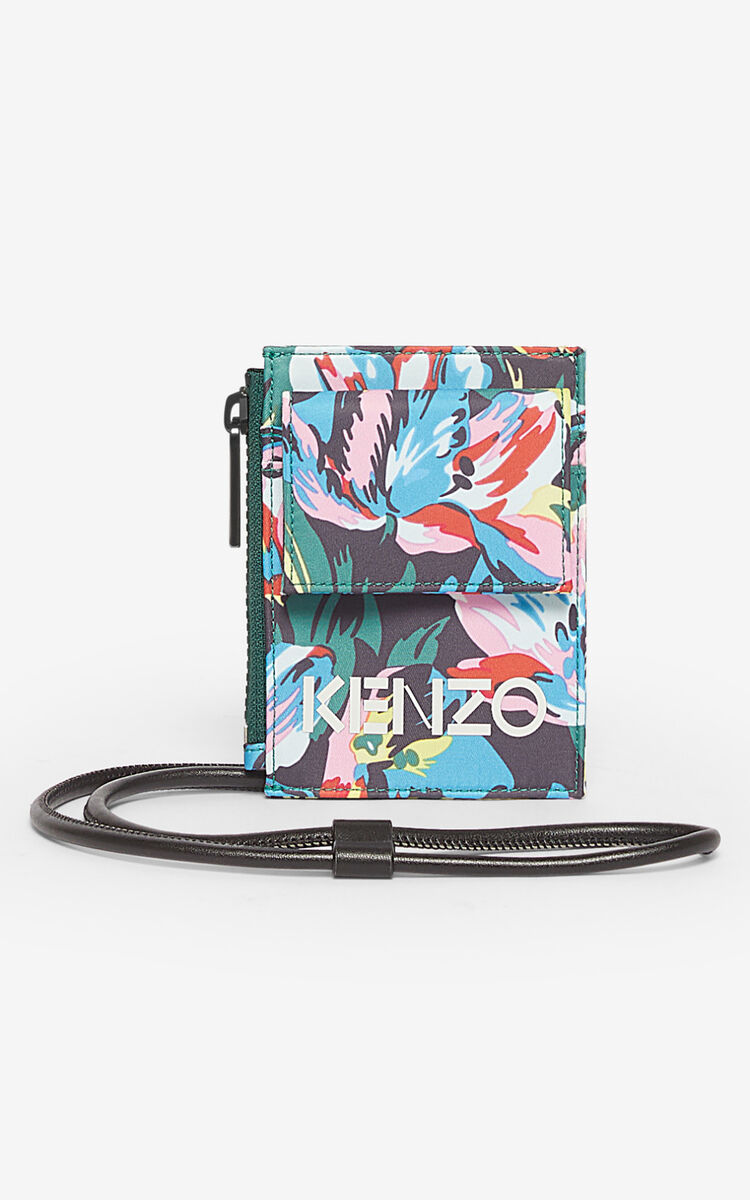 BLACK 'Tulipes' card holder for global.none KENZO
