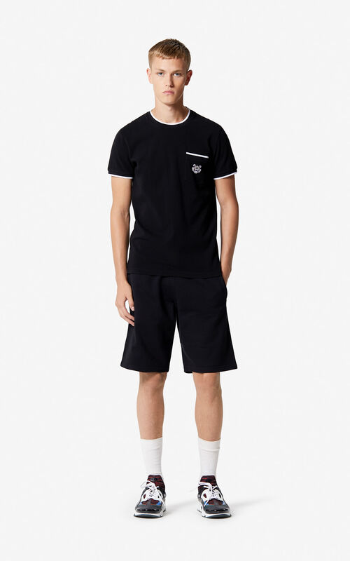 BLACK KENZO Logo Shorts for men
