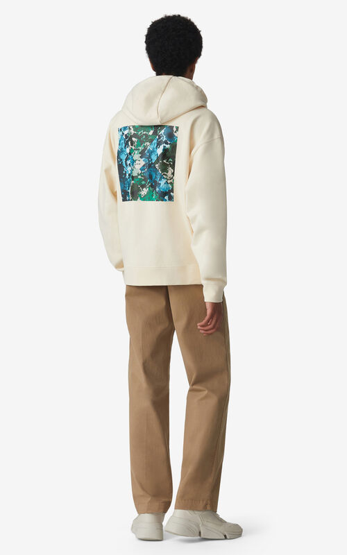 ECRU Oversized 'Brushed Camo' hoodie sweatshirt for men KENZO