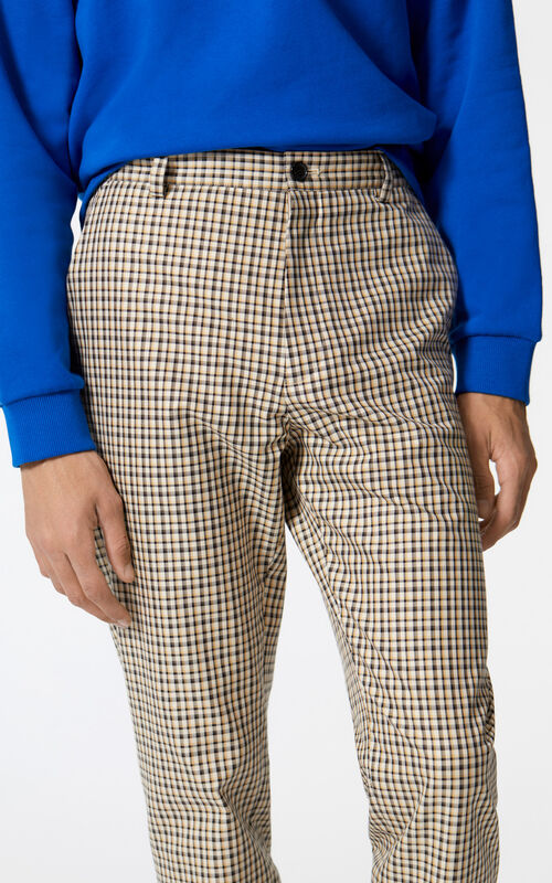 PALE CAMEL Checked straight-leg trousers for women KENZO